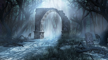 ruins: Gloomy scenery with ancient ruins, forest and wolves Stock Photo