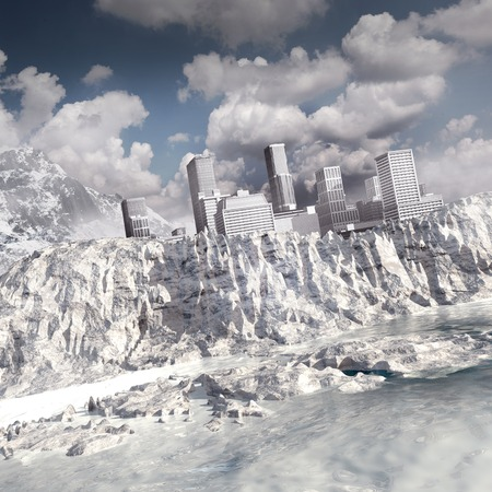 sea disaster: Landscape with city, mountain and frozen ocean Stock Photo