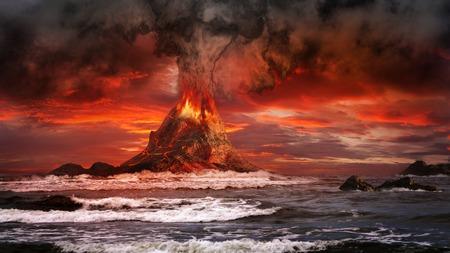 sea disaster: Volcano eruption on the sea Stock Photo
