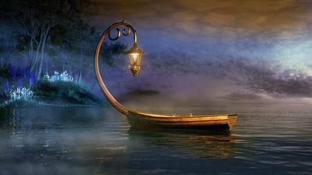 barca Fantasia su un lago nebbioso Archivio Fotografico