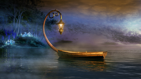 Fantasy boat on a misty lake