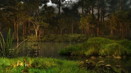 森の中の魔法の湖の上のミステリー