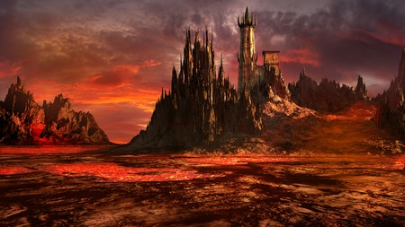wasteland: Creepy castle in the middle of lava field Stock Photo