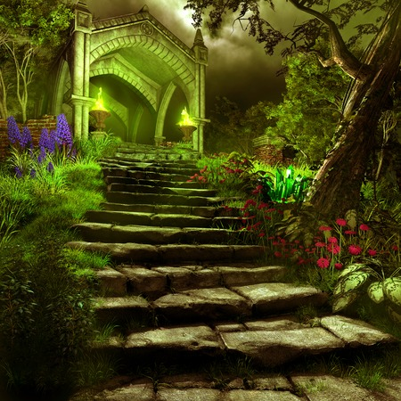 torchlight: Night scene with green torchlight and stone gate