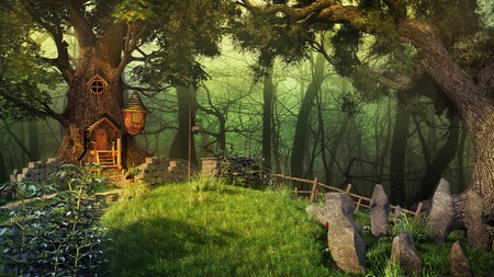 elven: Fairytale scenery with old trees, plants and elven house