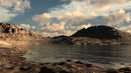 wasteland: Landscape with lake on a rocky desert Stock Photo