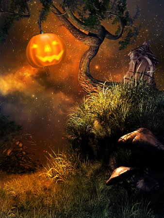 gnarled: Glowing Jack oLantern on the gnarled tree