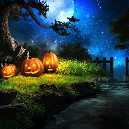 Paisaje de la noche con tres calabazas de Halloween bajo el árbol viejo