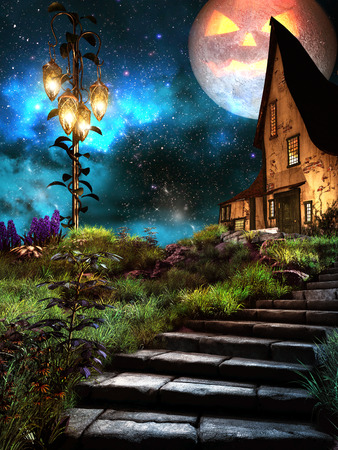 Fairytale scene with glowing lanterns, old cottage and halloween moon