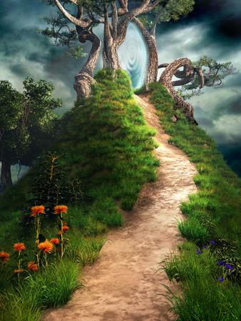 Magisch portaal op de heuvel met fantazy bomen en bloemen