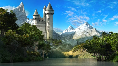 Fairytale castle on the slope of the mountains with forest and lake Foto de archivo