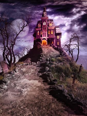 Night fantasie scène met spookhuis op de begraafplaats heuvel