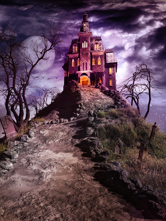 Night fantasy scene with haunted house on the cemetery hill Stock Photo