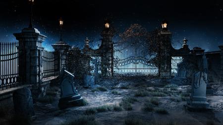 Oude gotische begraafplaats met ijzeren poort en lantaarn.