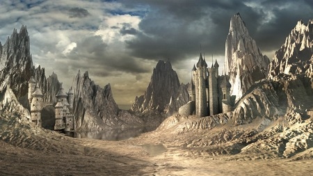 wasteland: Landscape with two castles and mountains