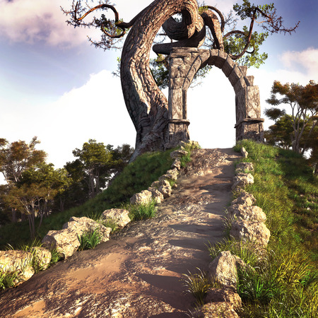 gnarled: Fantasy scenery with road,tree and stone arc on  top of the hill