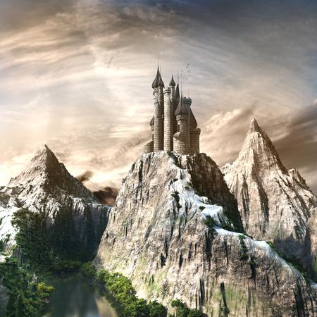 湖と緑の木が高山の城