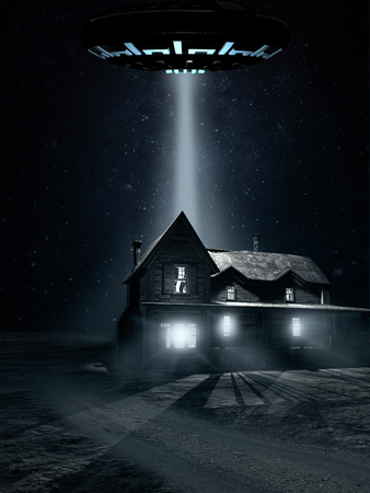 saucer: Night scene with flying saucer and old wooden house