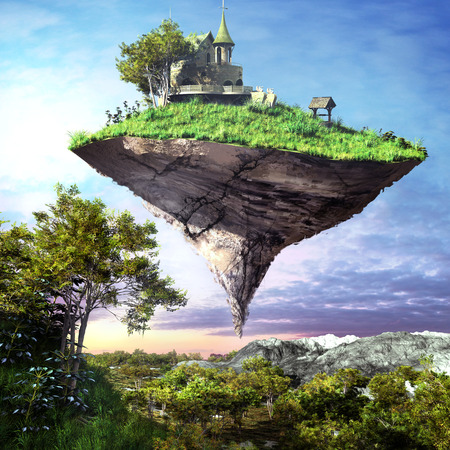 floating island: Church with green roof, on the island floating over mountain valley