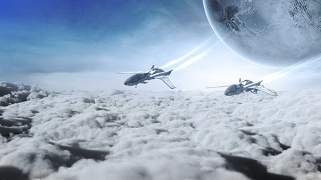 jets: Two futuristic airplanes flying over the clouds