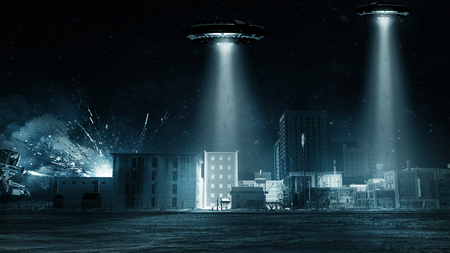invasion: Apocalyptic scifi scenery with flying saucers and alien war machine Stock Photo