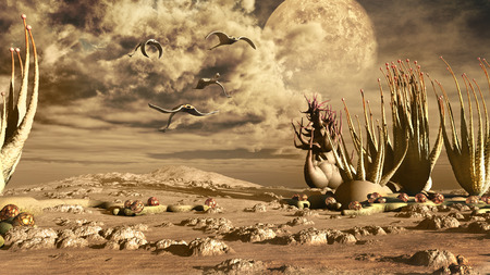 wasteland: Desert scenery with fantasy plants and creatures Stock Photo