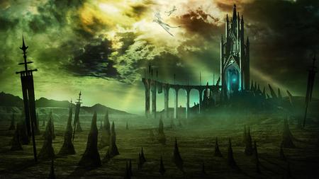 ファンタジー タワー、壊れた橋とドラゴンズと悲観的な風景 写真素材
