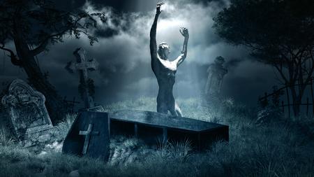 tombstones: Night scene with zombie,graveyard,tombstones and coffin Stock Photo
