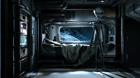 Futuristic Scene With Grey Alien In Space Station Bedroom Stock Photo