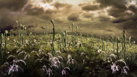 gloomy: Gloomy landscape with extraterrestrial plants and yellow stormy sky