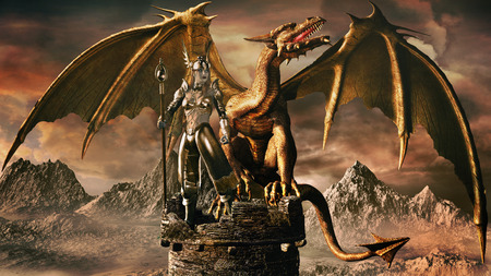 Fantasy image with old stone tower, sorceress and dragon