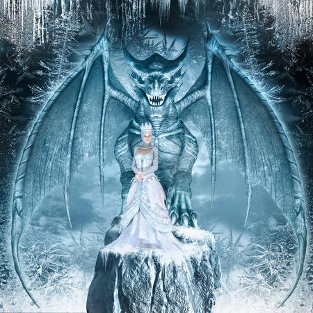Fantasiebild mit blauen Drachen und Schnee-Königin auf dem Eis bedeckt Felsen Standard-Bild - 61901758