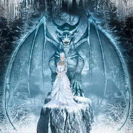 snow queen: Fantasy image with blue dragon and Snow Queen on the ice covered rock Stock Photo