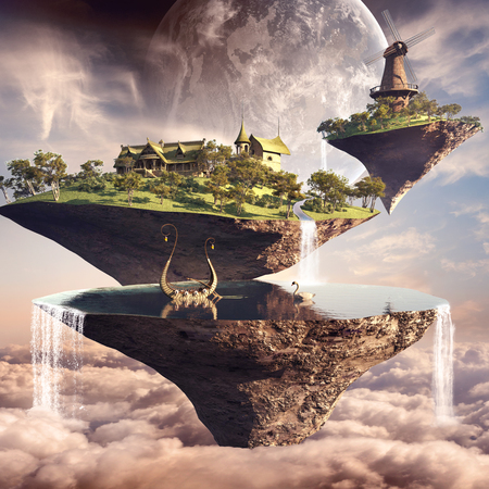 floating: Amazing fantasy scenery with floating islands, lake, windmill and boat Stock Photo