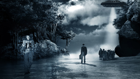 flying saucer: Night scene with fog, zombies and flying saucer Stock Photo