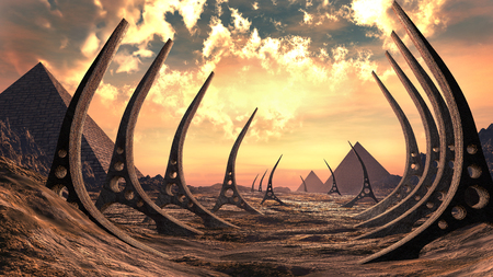 wasteland: Desert scene with pyramids and rusty alien devices Stock Photo