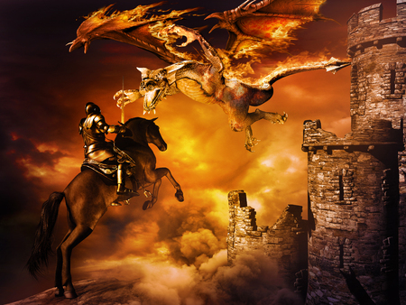 Fantasy scene with castle and  dragon attacking black knight Stockfoto