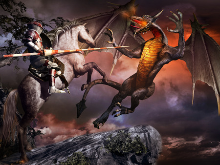 Fantasy scene with  armored knight on the white horse and dragon