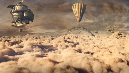 above clouds: Dark fantasy scenery with airships flying above the clouds
