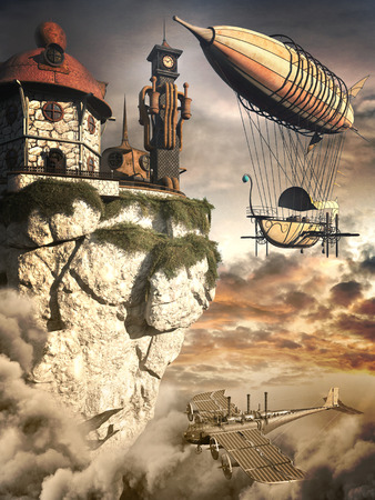 clock tower: Steampunk scenery with fantasy zeppelin, old airplane and rusty clock tower