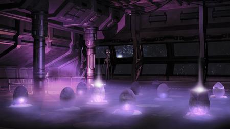 interior spaces: Space ship interior with alien eggs Stock Photo