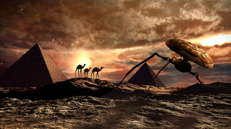 Desert scenery with pyramid, camels and martian war machine 版權商用圖片