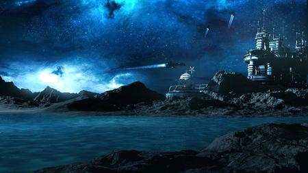 Nachtszene mit Raumstation, Raumschiffe und blauen See