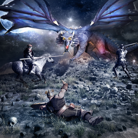 blue dragon: Fantasy battle scenery with blue dragon, knight, dwarf and horse rider Stock Photo