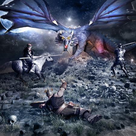 dwarf: Fantasy battle scenery with blue dragon, knight, dwarf and horse rider Stock Photo
