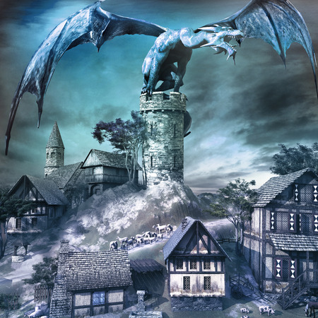 Epic scene with blue dragon sitting on the tower above small village