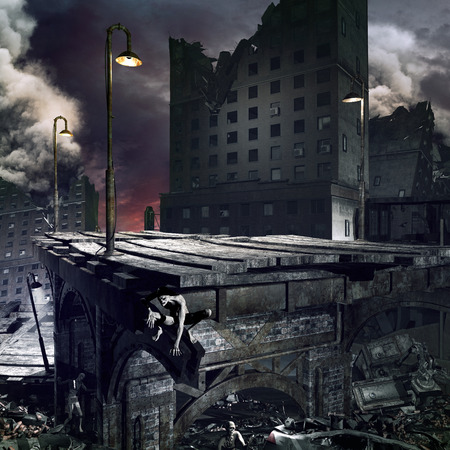 apocalyptic: Apocalyptic scenery with ruined city, destroyed bridge and zombies