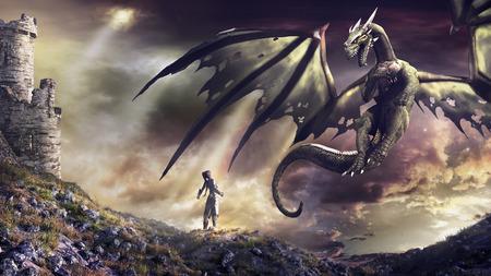 Paisaje de la fantasía con las ruinas del castillo, la bruja y dragón verde