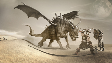 warriors: Desert fantasy scene with dragon and two warriors