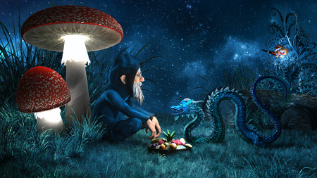 Night scene with gnome, toadstools and small chinese dragon
